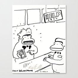 Unsatisfied Ape Complains at Help Desk Canvas Print