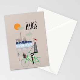 Paris - In the City - Retro Travel Poster Design Stationery Cards