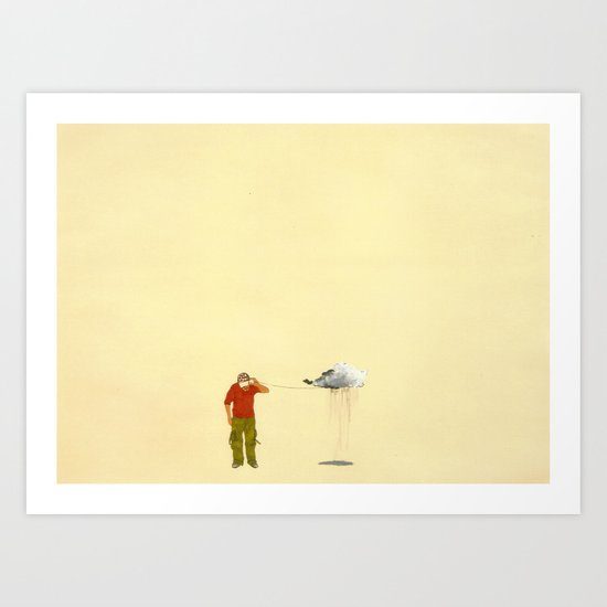 man listening to a cloud Art Print