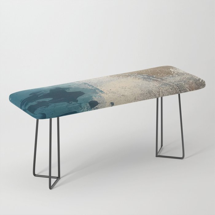 Embrace: a minimal, abstract mixed-media piece in blues and gold with a hint of pink Bench