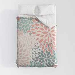 Festive, Floral Prints, Teal Green, Peach, Coral, Colour Prints Duvet Cover
