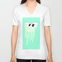 lime V-neck T-shirts featuring lime by Y.COH