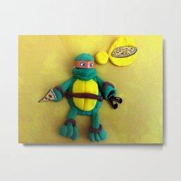 Orange mask turtle Metal Print