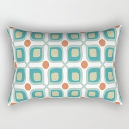 Abstract Flower Pattern Mid Century Modern Retro Turquoise Orange Rectangular Pillow