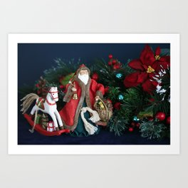 The Night Before Christmas. Santa Claus Arriving with Chistmas Gifts Art Print