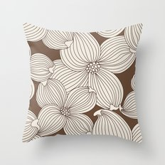 Dogwood Big Linear: Brown Cream Throw Pillow