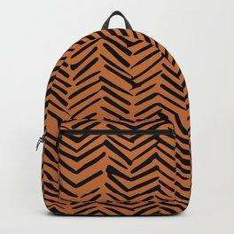 Halloween, Herringbone Pattern, Pumpkin Orange and Black Backpack