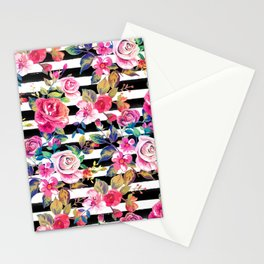 Cute spring floral and stripes watercolor pattern Stationery Cards