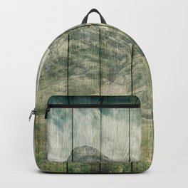 Rustic Country Wood Mountains Landscape Backpack