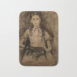 Watercolor Portrait Painting of a Victorian Girl Bath Mat