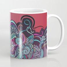 Detailed diagonal tangle, pink and purple Mug