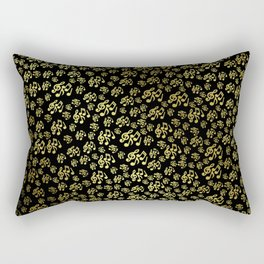 golden notes music symbol in black Rectangular Pillow