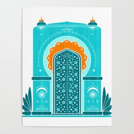 Boho Inspired Architecture ~ Aqua an Orange Poster