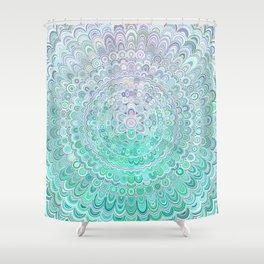 Turquoise Ice Flower Mandala Shower Curtain
