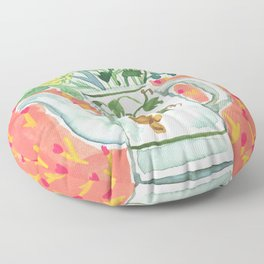 Think Happy Floral Floor Pillow