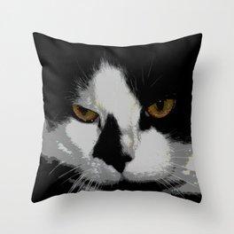 Black white cat II Throw Pillow