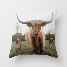 The Curious Cow Throw Pillow