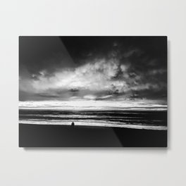 Stormy Clouds over Del Mar Beach by Reay of LIght Metal Print