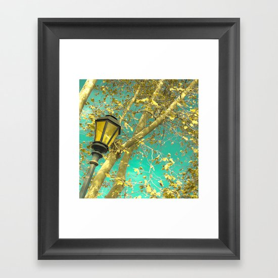 Autumn Gold Leafs in Turquoise Sky  Framed Art Print