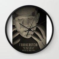 frankenstein Wall Clocks featuring Frankenstein by James Northcote