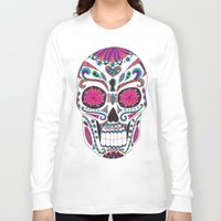 sugar skull Long Sleeve T-shirts featuring Sugar Skull by Laura Maxwell