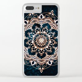 Glowing Spirit Mandala Blue White Clear iPhone Case
