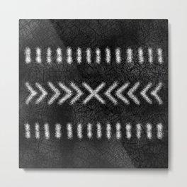 Minimalist Tribal Design in black and white Metal Print