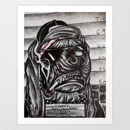 curly's mug shot Art Print