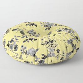 Black and White Floral on Yellow Floor Pillow