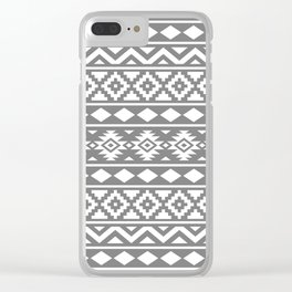 Aztec Essence Ptn III White on Grey Clear iPhone Case