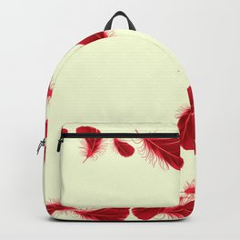 SURREAL FLOATING SCARLET RED FEATHERS Backpack