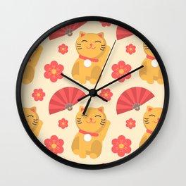Japanese Lucky Cat Fan Flower Pattern Cute Wall Clock