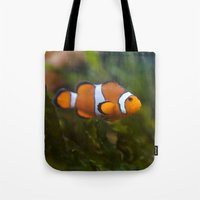nemo Tote Bags featuring Found Nemo by SomniumStudios.co.uk
