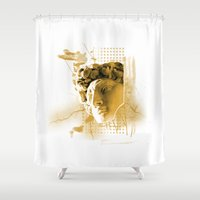 david fleck Shower Curtains featuring David by ArtAngelo