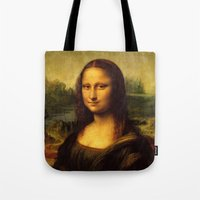 mona lisa Tote Bags featuring Mona Lisa by Color and Patterns