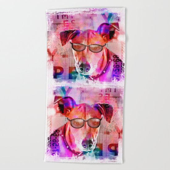 Cool colorful hippster dog artwork Beach Towel