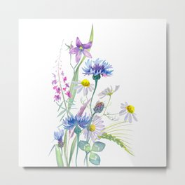 Watercolor wildflower composition on white background Metal Print