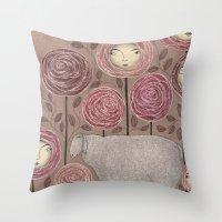 sleeping beauty Throw Pillows featuring Sleeping beauty by Judith Clay