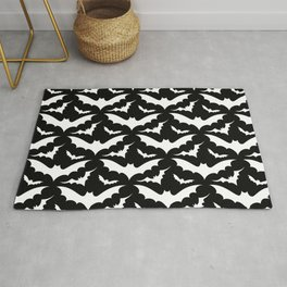 Black and White Bats Rug