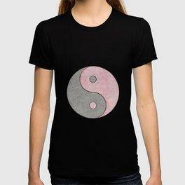 Yin Yang Esoteric Symbol Pastel Pink And Grey T-shirt