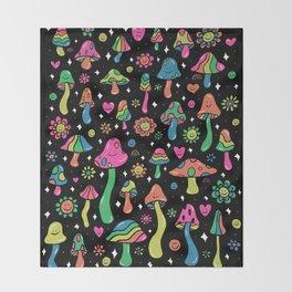 Rainbow Mushrooms Throw Blanket