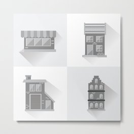 Modern Cottages Facades Collection, Residential House Buildings, Country Real Estate Flat Metal Print