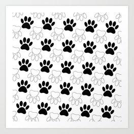 Black And White Dog Paw Print Pattern Art Print