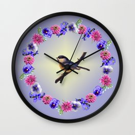 Chick-a-dee Flower Ring Wall Clock
