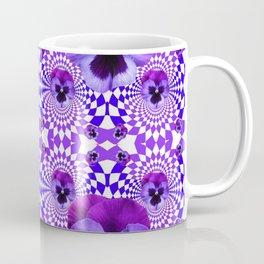 DECORATIVE OPTICAL PURPLE PANSIES GEOMETRIC ART Coffee Mug