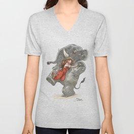 Elephant Hug Unisex V-Neck