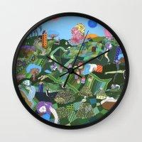 giants Wall Clocks featuring Sleeping Giants by Valeriya Volkova