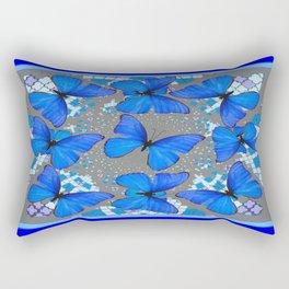 Decorative Blue Shades Butterfly Grey Pattern Art Rectangular Pillow
