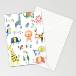 Funky Collaged Safari Animals Stationery Cards