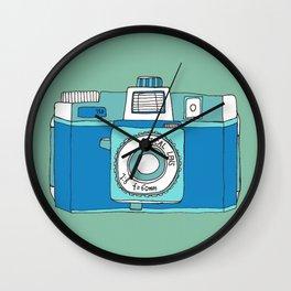 Holga Camera in Blue Wall Clock